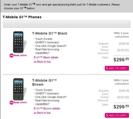 T-Mobile customers are being charged prices considerably higher than those announced for the G1.
